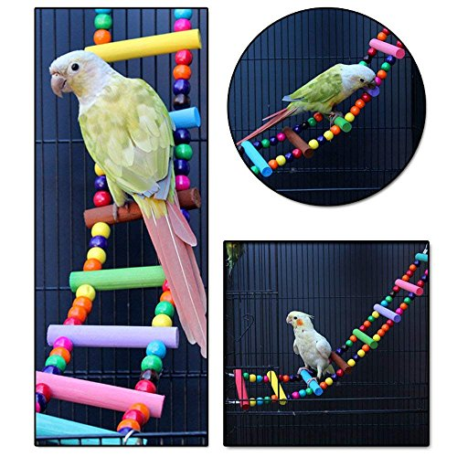 Littlegrass Bird Toys 31 inch Wood Bird Ladder, Step Parrot Ladder Swing Bridge,Bird Cage Accessories Decorative Flexible Cage Wooden Rainbow Toy for Cockatiel Conure Parakeet Birdcage Training ()