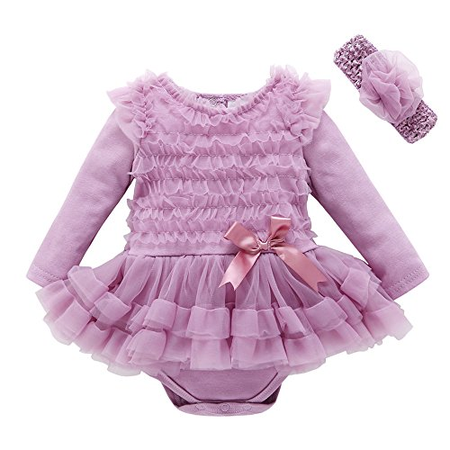 Birdfly Toddler Baby Girls Tulle Tutu Ballerina Romper Dress + Flower Headband, Party Birthday Dressy Outfit for Newborn Infant (18M, (Ballerina Swing)