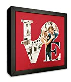 LOVE Sculpture Photo Frame Mat for your 8x10 Photo - Red Mat with a Black Frame