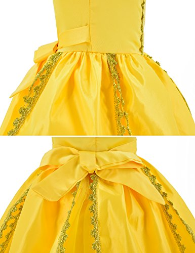 Princess Belle Costume Deluxe Party Fancy Dress Up For Girls with Accessories 10-12 Years(150cm) by Party Chili (Image #6)
