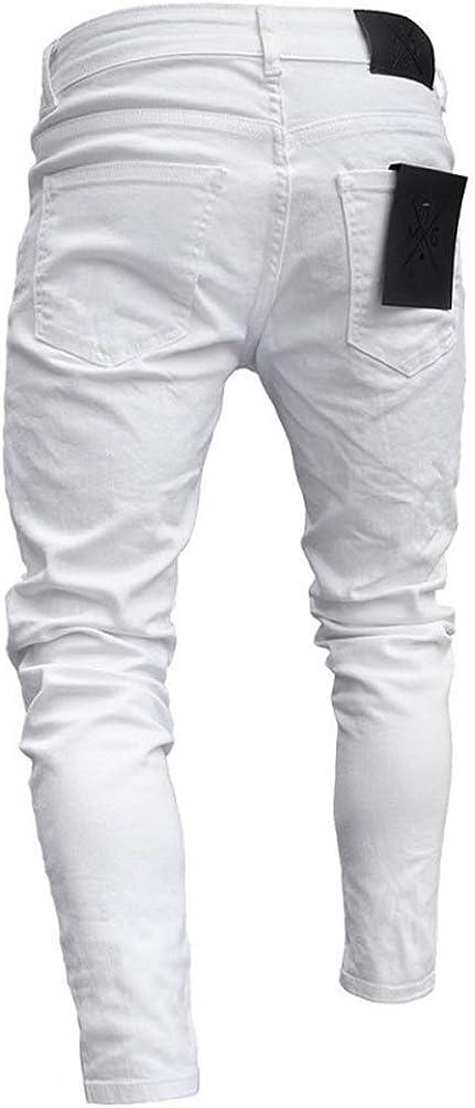 Feidaeu Pantaloni Casual da Uomo Retro Stile Spezzato Stretch Leggero e Attillato da Indossare con Pantaloni Aderenti