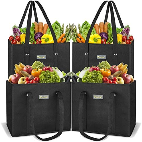 BALEINE 4 Pack Reusable Grocery Shopping Box Bag Set with Reinforced Bottom & Handles, Large Heavy Duty Eco Friendly Collapsible Foldable Bags in Bulk Fit in Shopping Cart (Black)