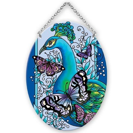 (Peacock with Butterflies Oval 5.25