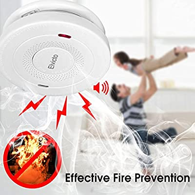 Elvicto Combination Photoelectric Smoke&Carbon Monoxide Detector 10 Year Battery Operated, Travel Portable Fire and Co Alarm for Home, Kitchen
