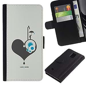 Ihec-Tech / Flip PU Cuero Cover Case para Samsung Galaxy Note 4 SM-N910 - I Love Water