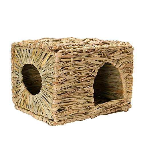Mkono-Natural-Seagrass-Mat-Bed-Hideaway-Toy-Hand-Woven-for-Rabbit-Guinea-pig-Chinchilla-Ferret