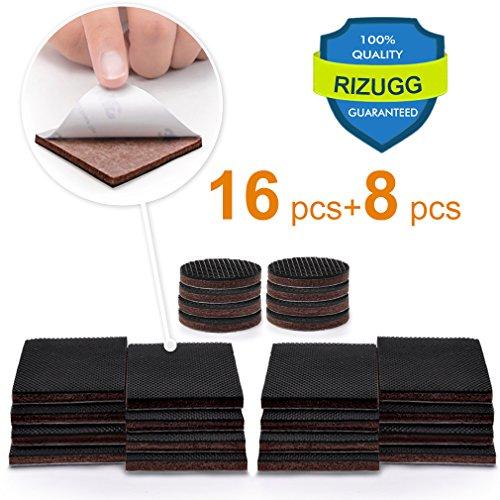 Furniture Pads,NON SLIP RIZUGG Furniture Gripper 16 Pcs 2u201d Add 8 Pcs 1u201d  Silicone Felt Protect Your Hardwood Flooring