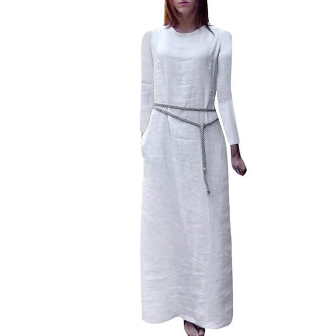Lenfesh_Vestidos Largo para Mujer Maxi Vestido Mujer Otoño Vestido Casual de Manga Larga de Mujeres
