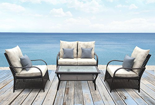 Sol Siesta Outdoor Furniture, Clubhouse Collection, 4 Piece Conversation Set, Patio Resin Wicker, Leaves