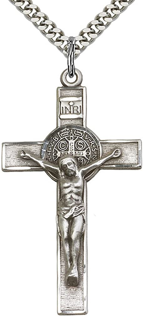 Heartland Men's Sterling Silver St. Benedict Crucifix Pendant USA Made