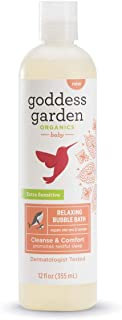 product image for Goddess Garden Organics Relaxing Baby Bubble Bath for Sensitive Skin (12 oz. Bottle), Argan Oil, Calming Lavender Essential Oil, Vegan, Leaping Bunny certified Cruelty-Free, Dermatologist Tested