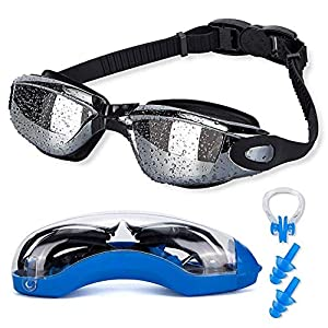 Asehuoz Swimming Goggles Anti Fog Shatterproof UV Protection,No Leaking with Silicone Nose Clip Ear Plugs and Protection…