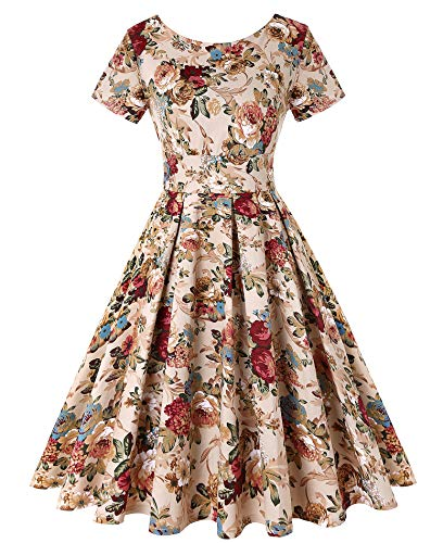 Retro Style 50s Neck - LEORAY Women's Vintage Floral Elegant Cocktail Formal Swing Dress with Short Sleeve