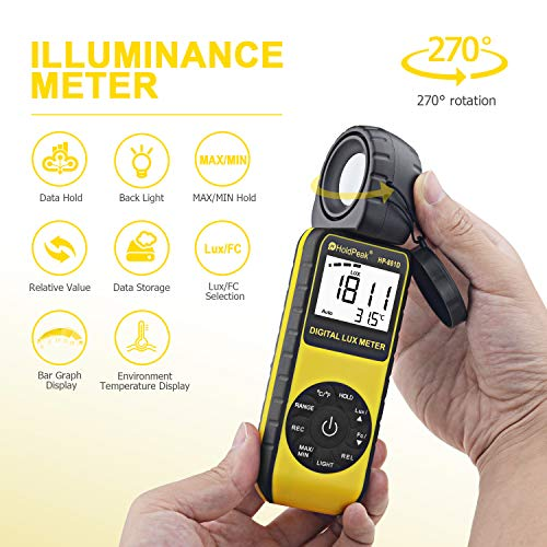 HOLDPEAK 881D Digital Illuminance/Light Meter with 0.01-400,000 Lux(1-40,000 FC) 270 ° Rotate Sensor Head, MAX/MIN,Backlight,Data Hold&Storage,lumens Meter for Plants and led Lights by H HOLDPEAK (Image #2)