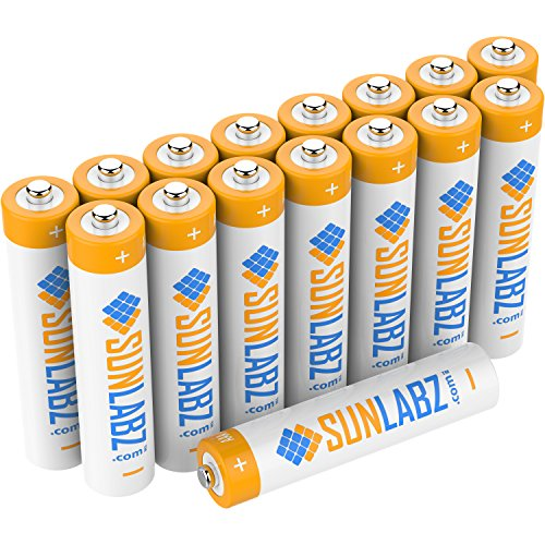 SunLabz Rechargeable Batteries, Ultra-Efficient NiCD AAA 400mAh (16 Pack)