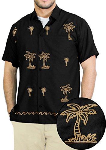 Hawaiian Shirt Men Short Sleeve Aloha Beach Point Collar Khaki Black P028 XXL Valentines Day Gifts 2017