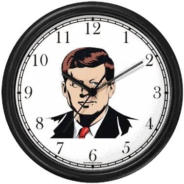 President John F. Kennedy Americana Wall Clock by WatchBuddy Timepieces Black Frame