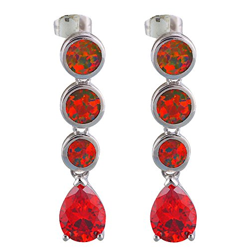 Trendy Red Fire Opal Silver Stamped Red Zircon for Women Party Gift Drop Earring Fashion Jewelry OE655A (Brown)
