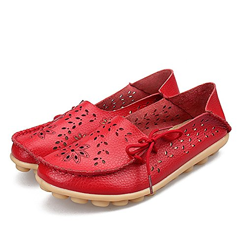 Yixinan Donna Cava Scarpe Casual Piselli Guida Scarpe Comode Scarpe Basse Stringate In Pelle Rosso