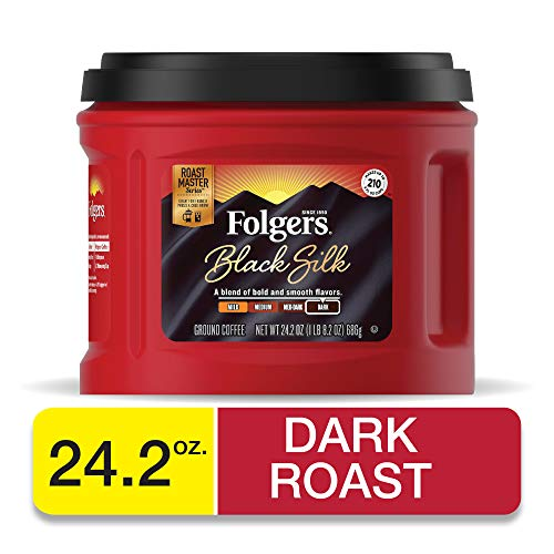 Folgers Black Silk Dark Roast Ground Coffee, 24.2 Ounces