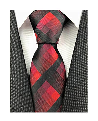 Mens Narrow Dark Red Black Geometry Check Woven Silk Ties Regular Soft Big Boys Skinny Neckties