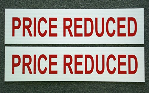 2Pc First-Rate Unique Price Reduced Sign Riders Store Message 2-Side Printed Indoor Decal Retail Banner Home Holder Post Outdoor Banners Pricing Poster Clearance Real Sale Signs Size 6