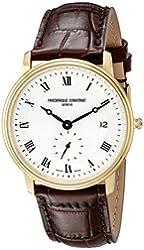 Frederique Constant Men's FC-245M4S5 Ultra Slim Date Analog Display Quartz Brown Watch