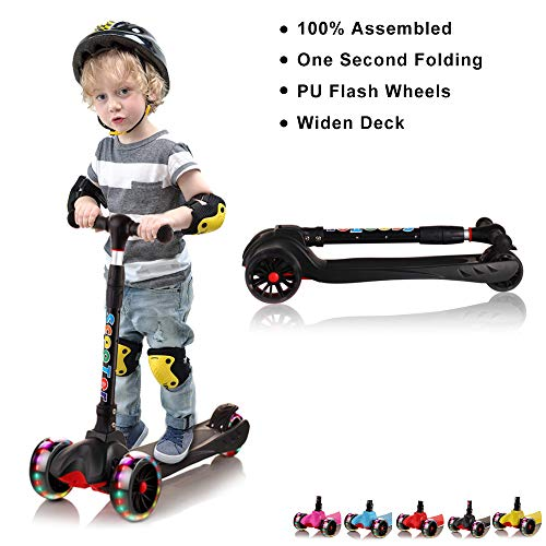 67i Kick Scooter for Kids Wide Deck 3 Wheel Toddler Scooter Lean to Steer Adjustable Height with Flashing PU Wheels Best Gifts for Children 3-12 Years Old