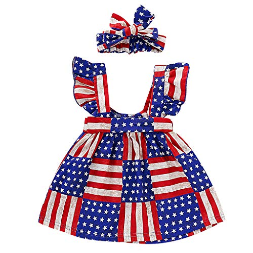FIRERO Children's Independence Day Striped Stars Flying Sleeve Sleeveless Halter Dress + Hair Strap