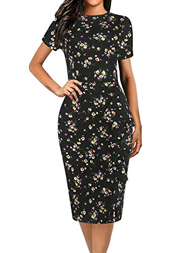 oxiuly Women's Elegant Vintage Ruffle Hem Stretchy Work Casual Party Midi Sheath Pencil Dress OX055 (XL, BKyellow F)