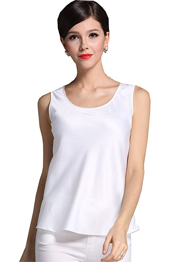 6a265f3767842f Fashion Silk Women's Shirts Blouse Silk Tank Tops at Amazon Women's  Clothing store: