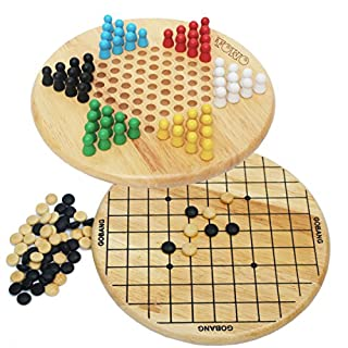Wooden Chinese Checkers and Gobang (Five in a Row) 2 in 1 Board Game - Chinese Chequers Family Board Games for Kids and Adults- Wooden Toys for 6 Years Old