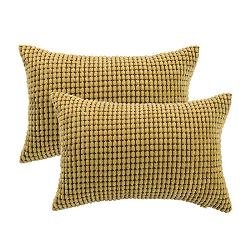 PICCOCASA Pack of 2 Throw Pillow Cases Covers with Zipper Fall Super Soft Corduroy Corn Striped Decorative Pillowcase Cushion Covers for Sofa Couch Bed, Yellow 12