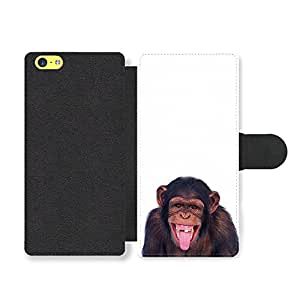 Chimp Chimpanzee Animal Smile Cheeky Monkey LOL Faux Leather case for iPhone 5C