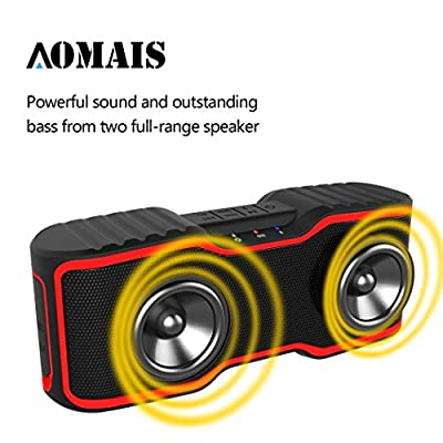 Waterproof IPX7 Wireless Bluetooth Speakers,AOMAIS Sport Outdoor/Shower Portable Bluetooth Speakers with 10W Enhanced Bass,Built-In Microphone for iphone/ipad/ipod/Android phone(Red)