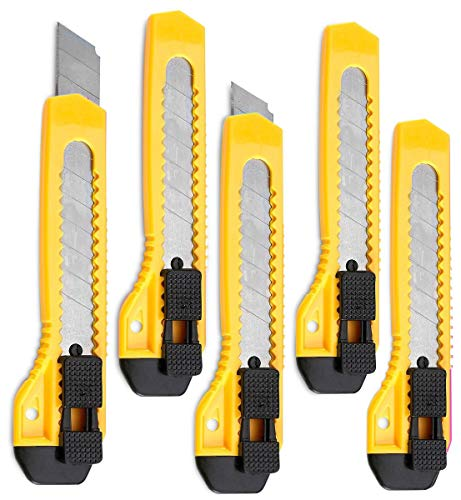 - Retractable Utility Knife - 5 Pack 6 Inch Manual-Lock Snap off Blade, Large Size Plastic Body – 8 Points Snap Blade -Heavy Duty Stainless Steel Blade - By Katzco
