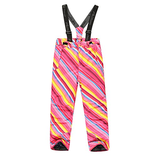 PHIBEE Girls' Waterproof Windproof Breathable Polyester Snow Ski Pants Rainbow 12 (Size 12 Youth Snow Pants)