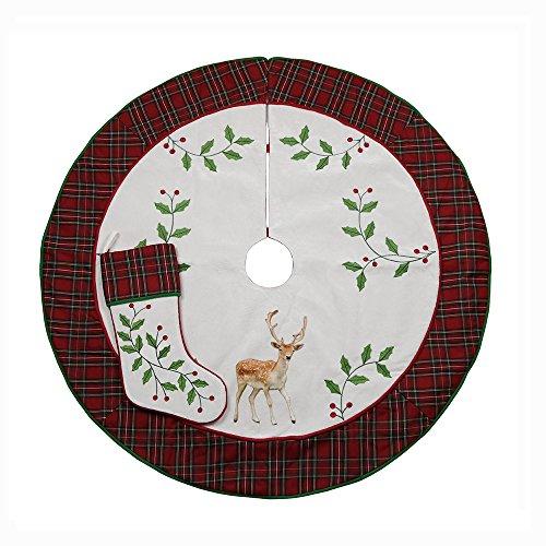 Valery Madelyn 48 Trendy Red Tartan Plaid Christmas Tree