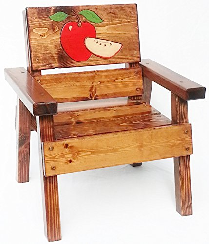 Kids Wood Chair, Heirloom Gift, Patio or Garden Furniture, Engraved and Painted Apples, Indoor / Outdoor