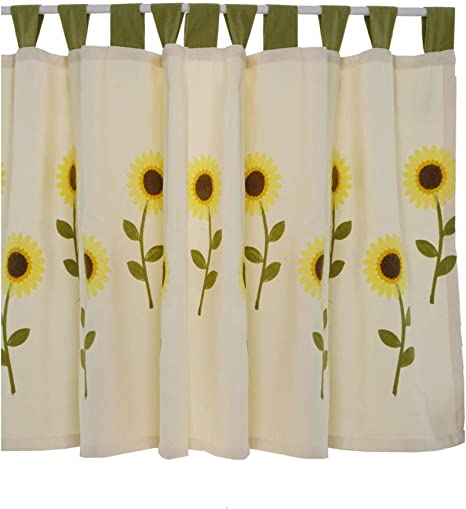 Azerlee Embroidery Panel Sunflowers Cafe Kitchen Curtain Floral Drapes for Window,78 X34