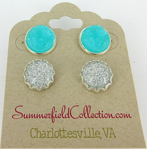 Duo Stud Earrings Silver Glitter Resin and Aqua Blue Faux Druzy Stone 12mm (Duos Costumes)