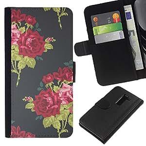 All Phone Most Case / Oferta Especial Cáscara Funda de cuero Monedero Cubierta de proteccion Caso / Wallet Case for LG G2 D800 // Vignette Wallpaper Roses Bouquette