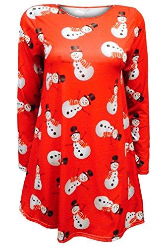 Oops Outlet Mujeres Mujer Mangas largas Olaf Santa Regalos Campanas Muñeco de nieve Navidad Estampado Swing Vestido Acampanado Top Plus Size UK 8–�?2 Muñeco De Nieve Abrazo Rojo