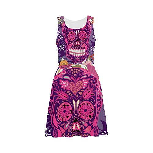 Women's Sugar Skull Dia De Los Muertos Polyester Casual Sundress L (Morphsuit Sun Glasses)