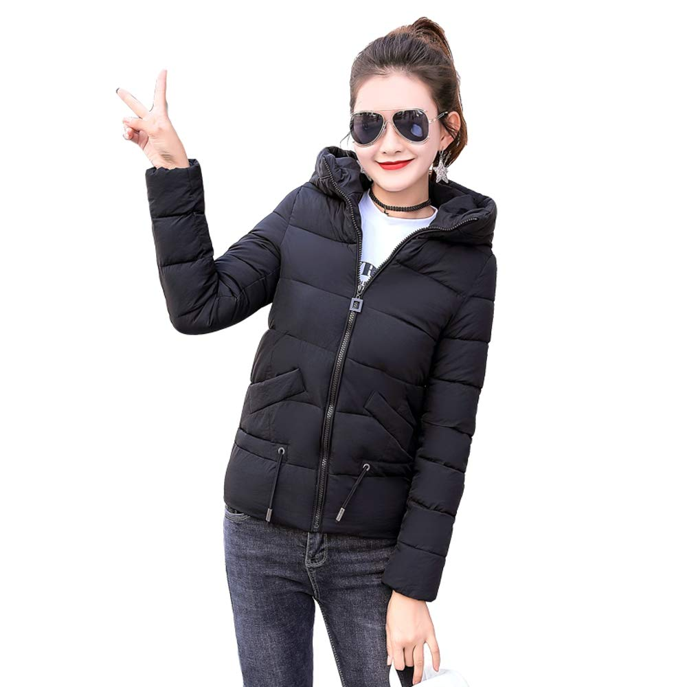 Black Dotoo Winter Fashion Short Cotton Padded Ladies Thick Warm Cotton Jacket Cotton Jacket