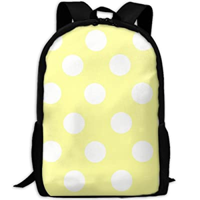 SZYYMM Yellow Polkadot Oxford Cloth Casual Unique Backpack, Adjustable Shoulder Strap Storage Bag,Travel/Outdoor Sports/Camping/School For Women And Men