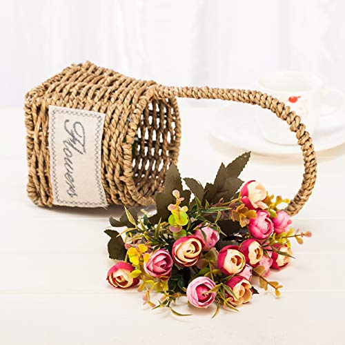 chuangxindaye Artificial Potted Flowers Plant Tea Rose for Home Decor Party Wedding Garden Office Patio Decoration (Rattan Basket) … from chuangxindaye