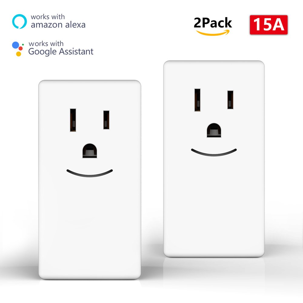 Smart Plug 2pack Mini Wi-Fi Socket Wireless Power Outlet Smile Voice Remote Control No Hub Required Compatible with Alexa and Google Home 15A