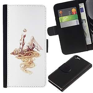 EJOY---La carpeta del tirón la caja de cuero de alta calidad de la PU Caso protector / Apple Iphone 6 / --Chica profundo del arte abstracto de la acuarela Blanca