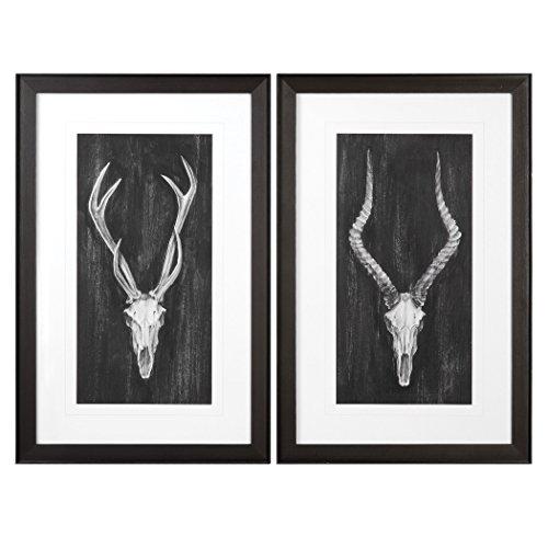 Rustic Lodge Vintage Style Deer Skull Wall Art Set | Hunting Trophy Black Gray Pair by My Swanky Home